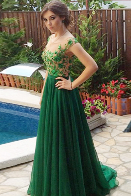 Custom Made Green Beaded Prom Dress,Sexy Appliques Evening Dress,Chiffon Party Gown