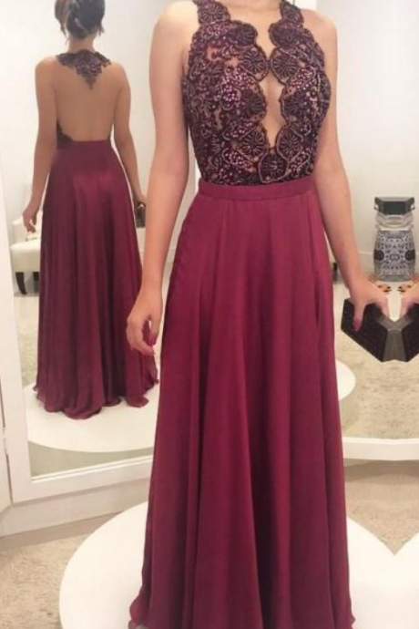 Charming Burgundy See Though Evening Dress, Floor Length Long Prom Dresses, Women Dress