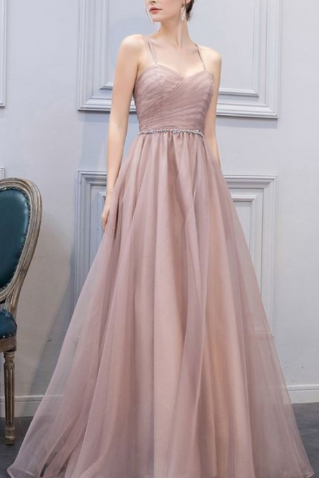 A-Line prom dress Sweetheart Champagne Long Prom Dress,Evening Dress with tulle pink evening dress