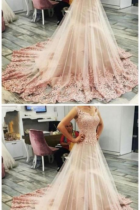 Pink Ball Gown Sweet Sleeveless Prom Dress,Charming Lace Evening Gown,Long Evening Dress,Elegant Prom Dresses