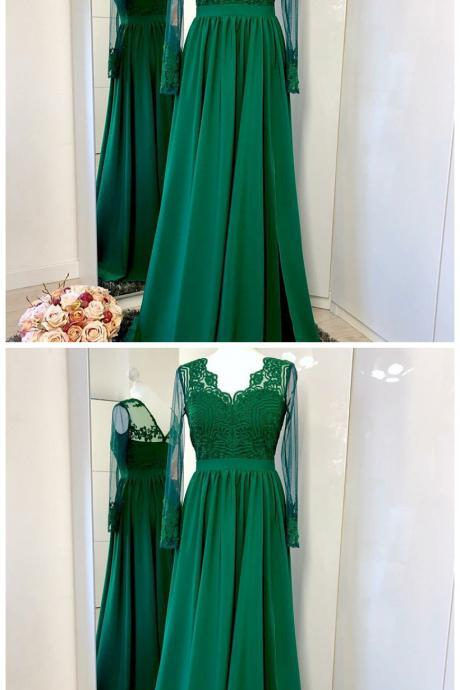 A-Line Floor-Length Green Long Sleeves Prom Dress with Appliques