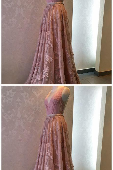 A-Line Round Neck Beaded Long Pink Tulle Prom Dress with Appliques