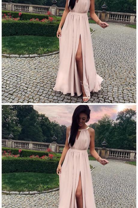 A-Line Keyhole Round Neck Split Front Long Pink Prom Dress with Ruffles