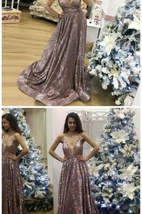 A-Line Spaghetti Straps Sweep Train Rose Gold Sequin Prom Dress