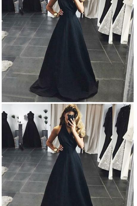 A-Line V-Neck Sleeveless Floor-Length Black Satin Prom Dress with Sash