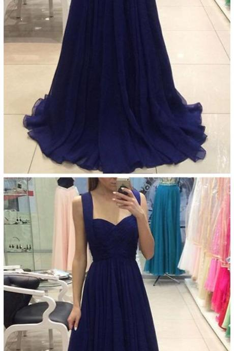 Chiffon Prom Dress, Long Prom Dress, Sweetheart Prom Dress, Elegant Long Evening Dress, Navy Formal Dresses